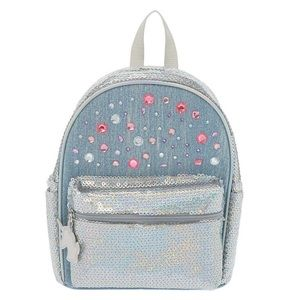 Claire's Sequin Gem Denim Mini Backpack